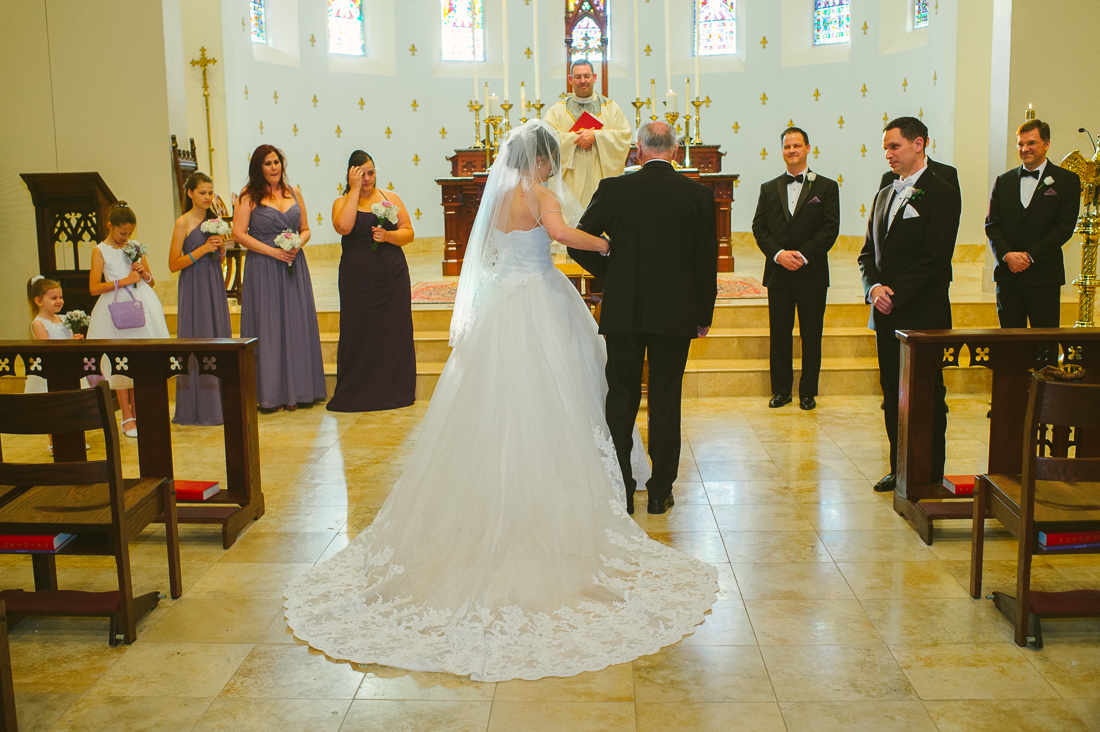 walking down the aisle in st louis church, austin