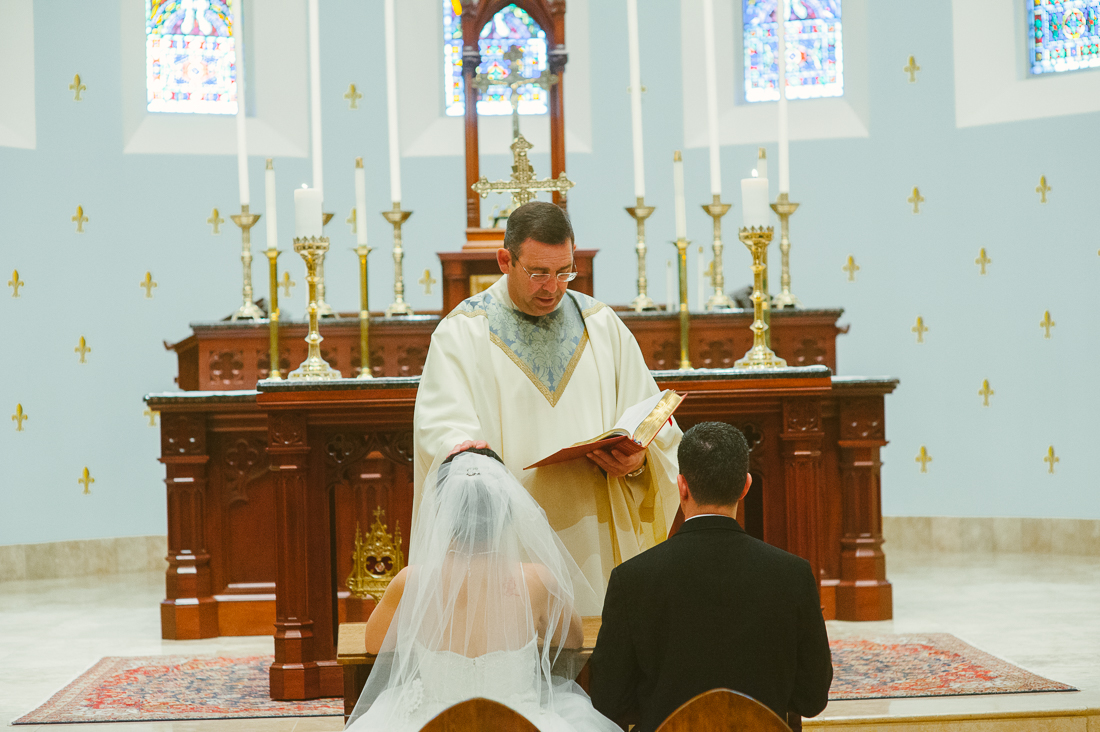 blessings by the priest on a catholic bride