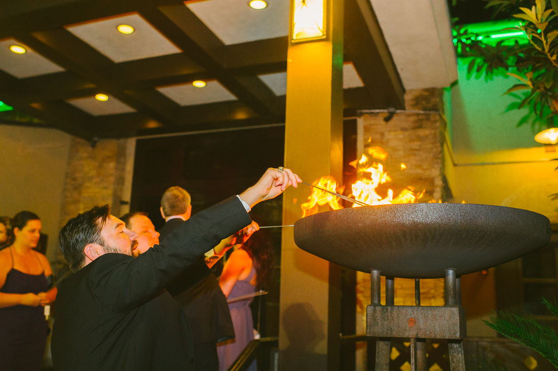 lighting sparkler at estancia churrascaria