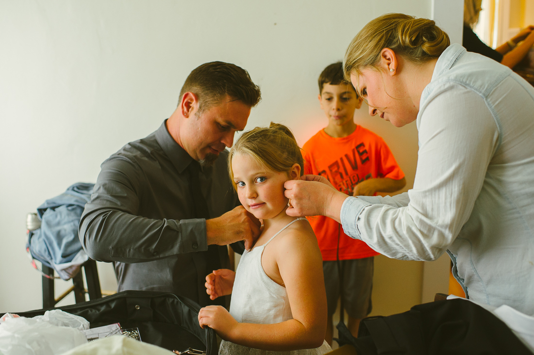 getting the flower girl ready