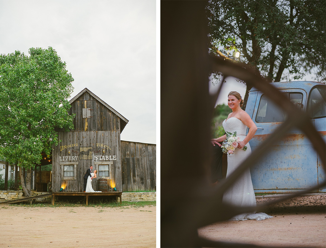 seeing the bride through a wooden spoke