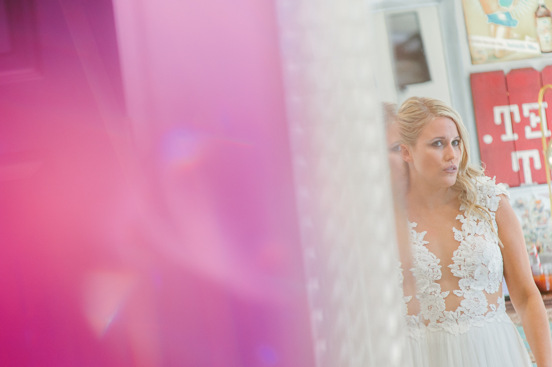 bride getting ready at liney moon stellar house