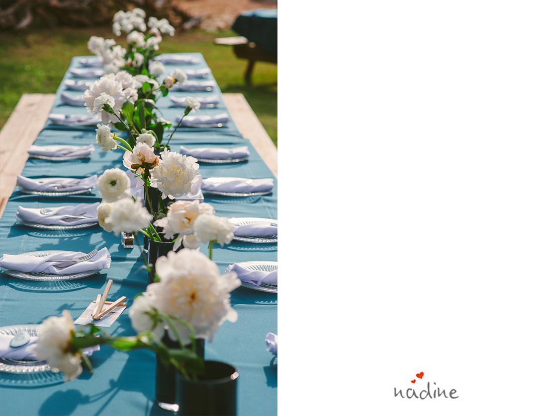 blue teal wedding decor