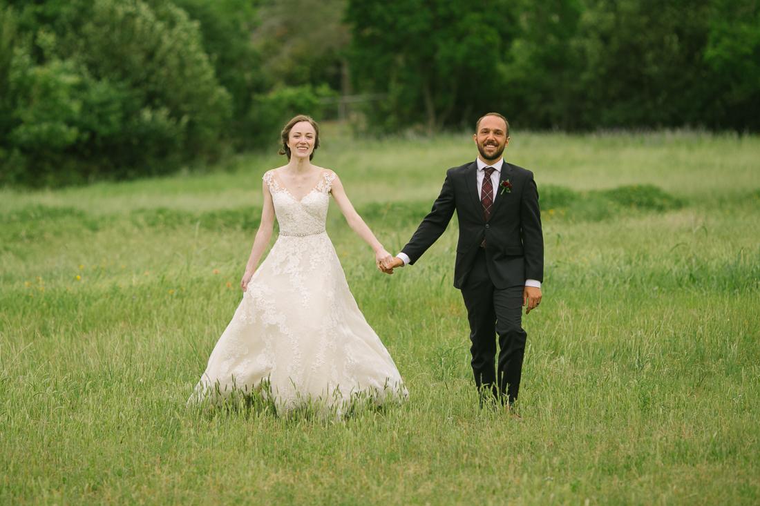 winfield inn wedding walking down the grass