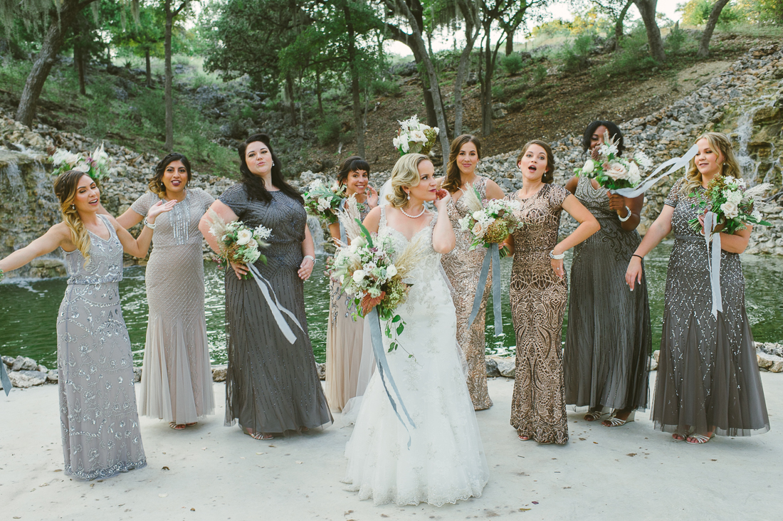 vintage hollywood bridesmaids metallics