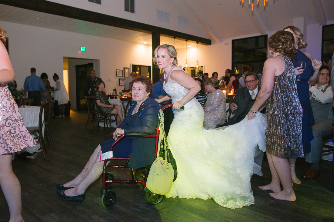 bride and grandmother at reception