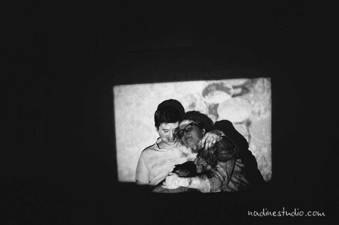 black and white intimate engagement
