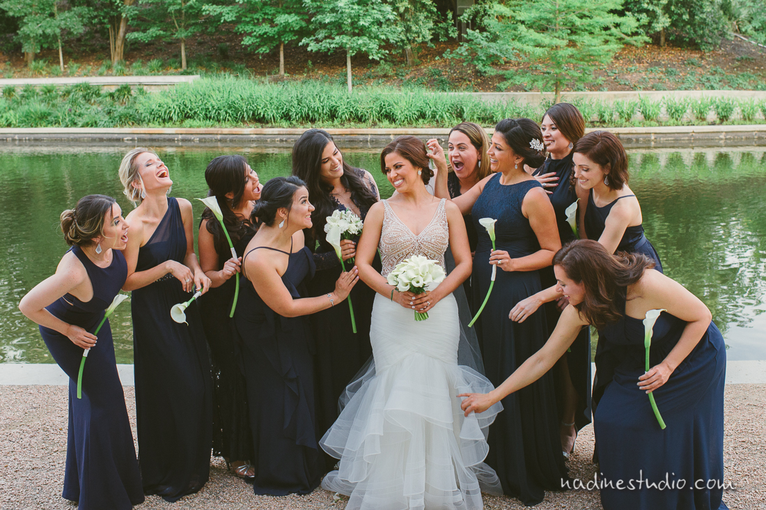 bridesmaids and bride at wedding